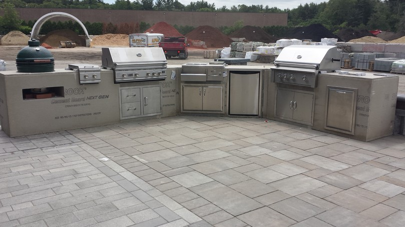Outdoor modular kitchen cabinets old station landscape for Prefabricated outdoor kitchen cabinets